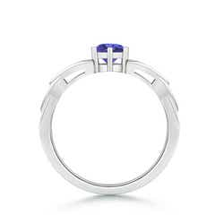Solitaire Round Tanzanite Celtic Knot Ring