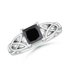 Solitaire Princess Cut Enhanced Black Diamond Celtic Knot Ring