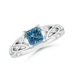 Solitaire Princess-Cut Enhanced Blue Diamond Celtic Knot Ring