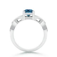 Solitaire Princess Cut Enhanced Blue Diamond Celtic Knot Ring