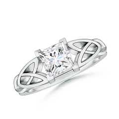 Solitaire Square Moissanite Celtic Knot Ring