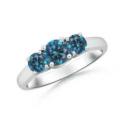 Three Stone Round Enhanced Blue Diamond Engagement Ring