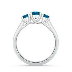 Toggle Three Stone Round Enhanced Blue Diamond Engagement Ring