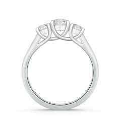 Toggle Three Stone Round Diamond Engagement Ring