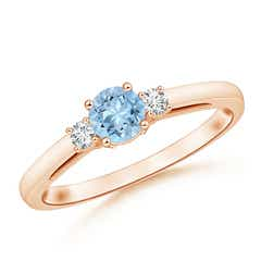 Round Aquamarine & Diamond Three Stone Engagement Ring
