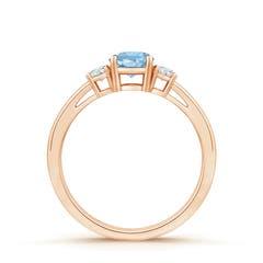 Toggle Round Aquamarine & Diamond Three Stone Engagement Ring