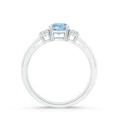 Toggle Round Aquamarine & Diamond Three Stone Engagement Ring