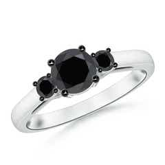 Round Enhanced Black Diamond Past Present Future Engagement Ring