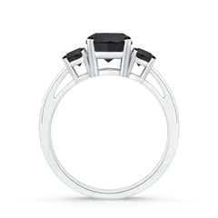 Toggle Round Enhanced Black Diamond Three Stone Engagement Ring