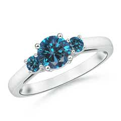 Round Enhanced Blue Diamond Three Stone Engagement Ring