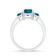 Toggle Round Enhanced Blue Diamond Three Stone Engagement Ring
