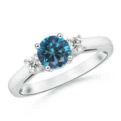 Round Enhanced Blue & White Diamond Past Present Future Ring