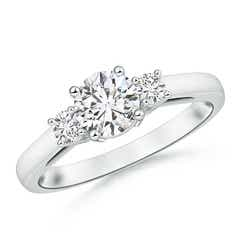 Round Diamond Three Stone Engagement Ring