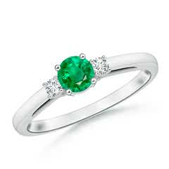 Round Emerald & Diamond Three Stone Engagement Ring