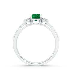 Toggle Round Emerald & Diamond Three Stone Engagement Ring