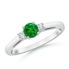 Round Emerald & Diamond Three Stone Engagement Ring