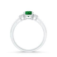 Toggle Round Emerald & Diamond Three Stone Engagement Ring