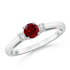 Round Garnet & Diamond Three Stone Engagement Ring