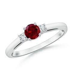 Round Garnet & Diamond Three Stone Engagement Ring