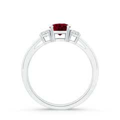 Toggle Round Garnet & Diamond Three Stone Engagement Ring