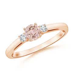 Round Morganite Past Present Future Engagement Ring