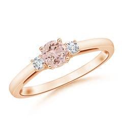 Round Morganite & Diamond Three Stone Engagement Ring