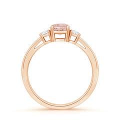 Toggle Round Morganite & Diamond Three Stone Engagement Ring