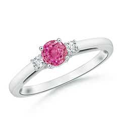 Round Pink Sapphire & Diamond Three Stone Engagement Ring