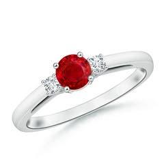 Round Ruby & Diamond Three Stone Engagement Ring