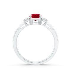 Toggle Round Ruby & Diamond Three Stone Engagement Ring