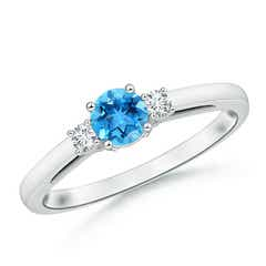 Round Swiss Blue Topaz Past Present Future Engagement Ring