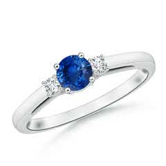 Round Sapphire Past Present Future Engagement Ring