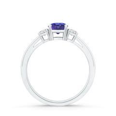 Toggle Round Tanzanite & Diamond Three Stone Engagement Ring