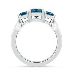 Toggle Three Stone Princess-Cut Enhanced Blue Diamond Ring