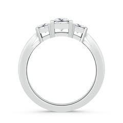 Tapered Shank 3 Stone Square Moissanite Ring