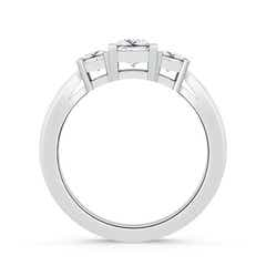 Toggle Three Stone Square Moissanite Ring