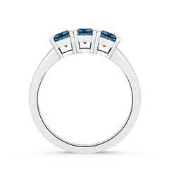 Toggle Classic Three Stone Enhanced Blue Diamond Engagement Ring