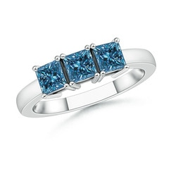Classic Three Stone Enhanced Blue Diamond Engagement Ring