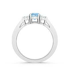 Toggle Cathedral Three Stone Aquamarine & Diamond Engagement Ring