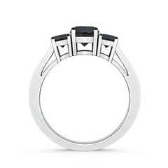Toggle Cathedral Three Stone Enhanced Black Diamond Engagement Ring
