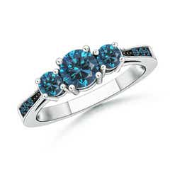 Cathedral Three Stone Enhanced Blue Diamond Engagement Ring