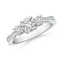 Cathedral 3 Stone Round Diamond Engagement Ring