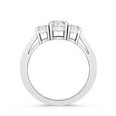 Toggle Cathedral Three Stone Diamond Engagement Ring