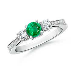 Cathedral Three Stone Emerald & Diamond Engagement Ring