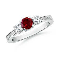 Cathedral Three Stone Garnet & Diamond Engagement Ring