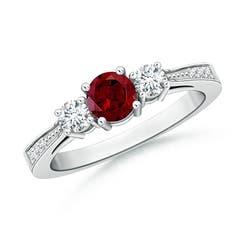 Cathedral Three Stone Garnet & Diamond Engagement Ring