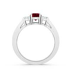 Toggle Cathedral Three Stone Garnet & Diamond Engagement Ring