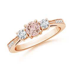 Cathedral Three Stone Morganite & Diamond Engagement Ring