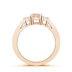 Toggle Cathedral Three Stone Morganite & Diamond Engagement Ring