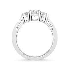 Cathedral 3 Stone Round Moissanite Engagement Ring